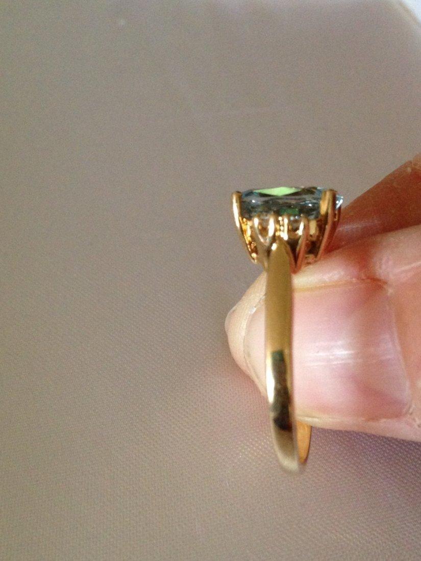 Vintage Aquamarine and Diamond 14k Gold Ring Sz: 8 - 6