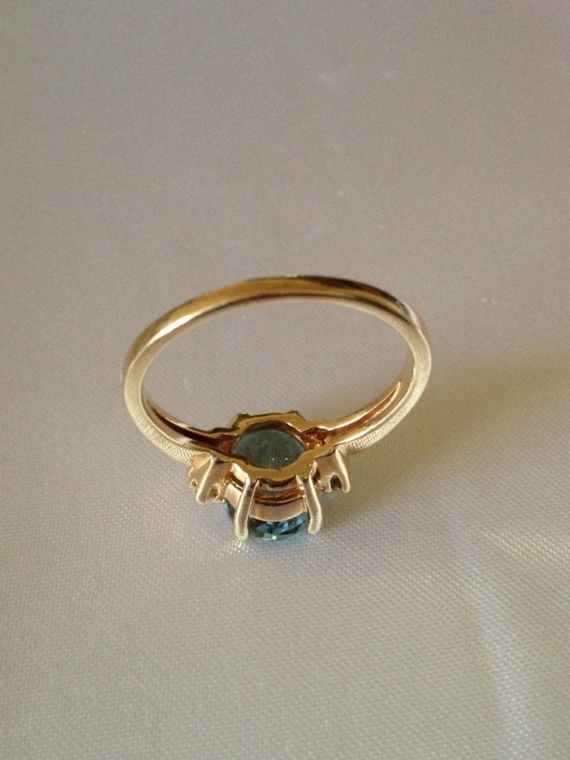 Vintage Aquamarine and Diamond 14k Gold Ring Sz: 8 - 7