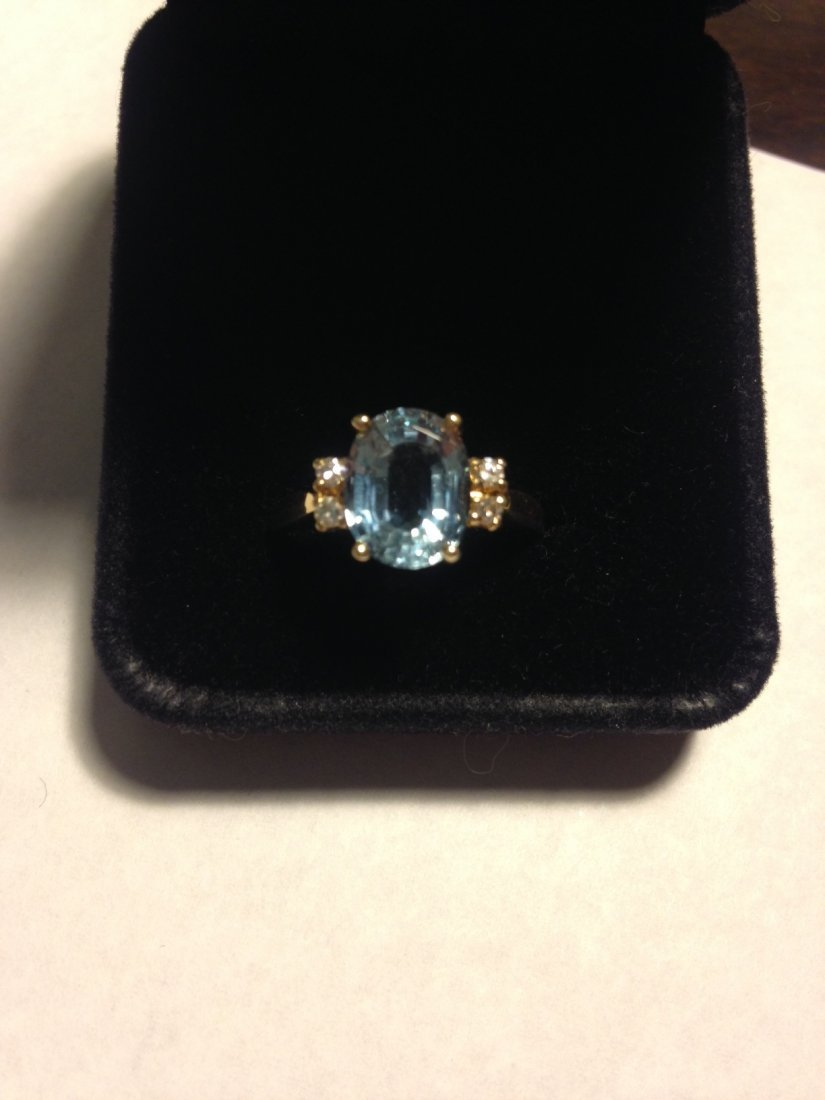 Vintage Aquamarine and Diamond 14k Gold Ring Sz: 8 - 8