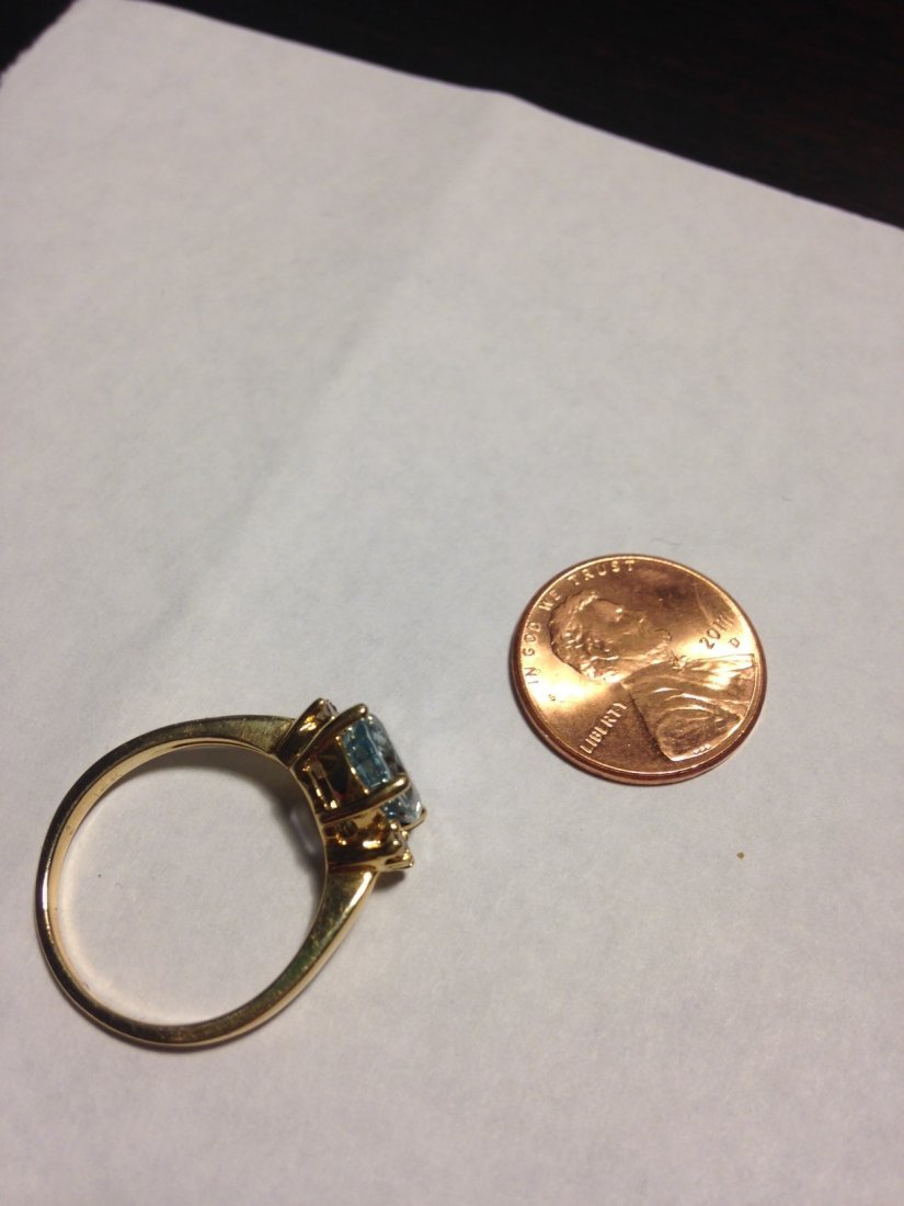 Vintage Aquamarine and Diamond 14k Gold Ring Sz: 8 - 9