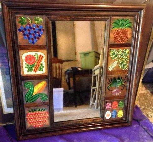 Unique Vintage Solid Wood and Metal Tile Mirror