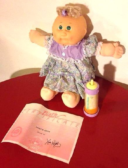 """1989 Cabbage Patch Doll """" Sippin' Baby"""" w/ Birth Cert."""