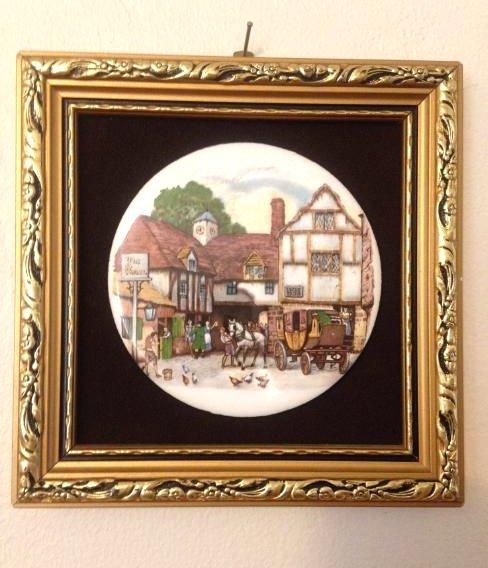 Vintage Enamel on Copper Gilt Framed Plaque of Village