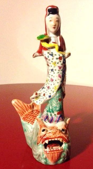 Chinese Porcelain Statue Woman Standing on Dragon/Fish