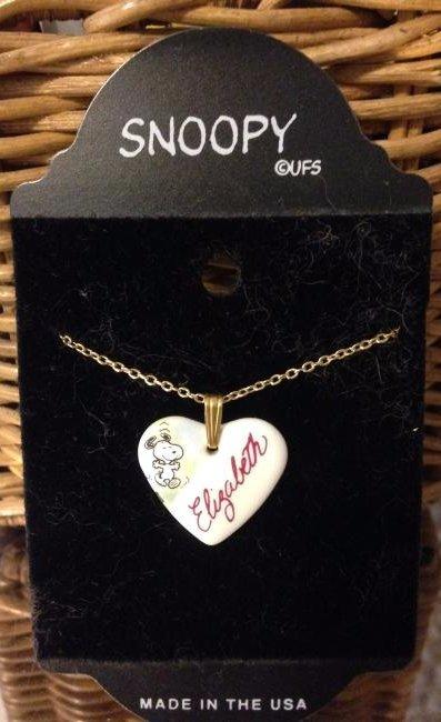 "Snoopy Ceramic Heart Pendant with Name ""Elizabeth"""