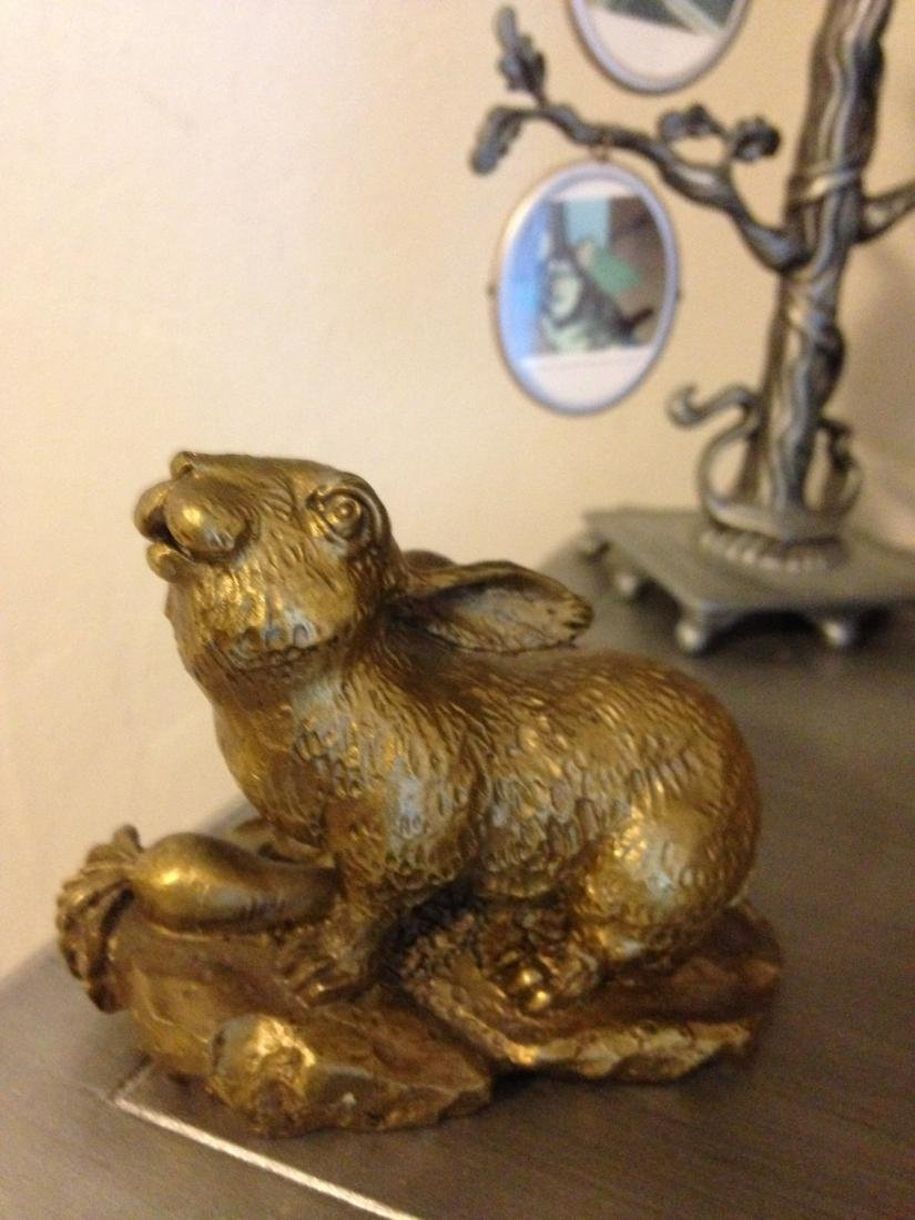 Chinese Bronze Rabbit Statue w/ Great Details - 2