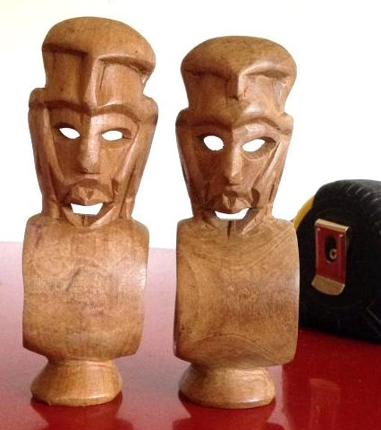 Two Hand-Carved Wooden African Mask Napkin Rings