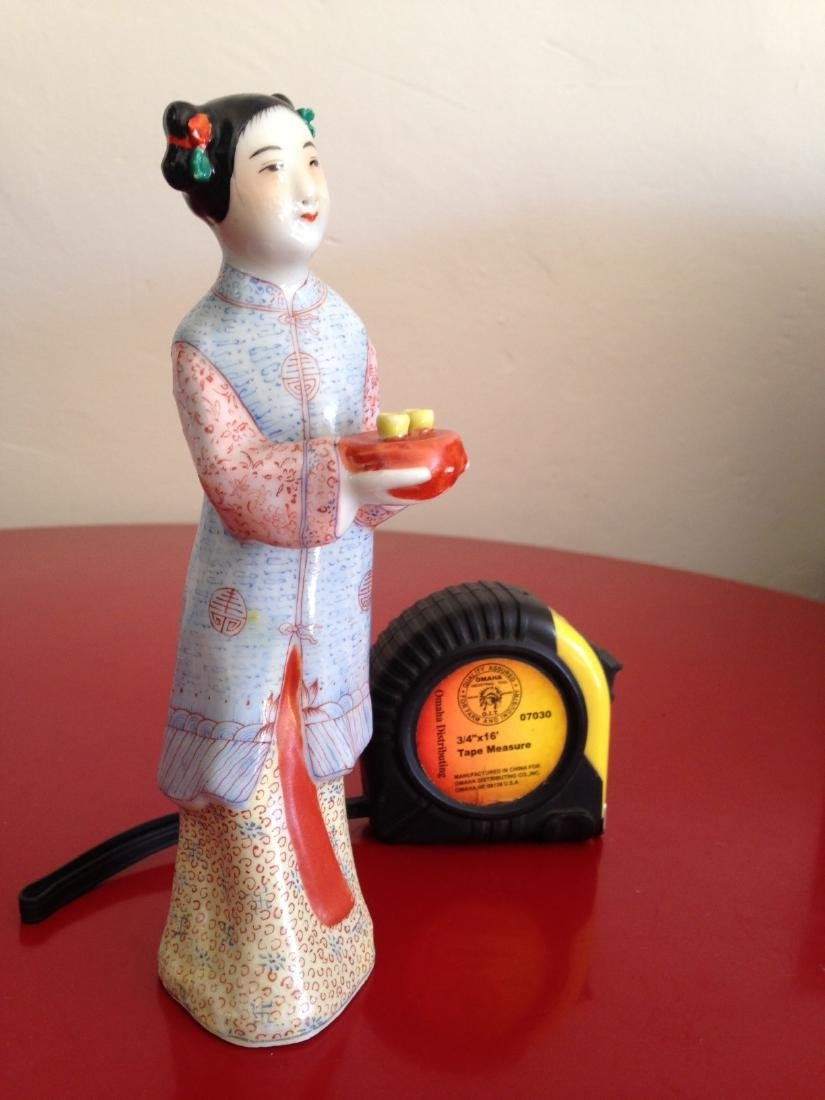 Chinese Porcelain Statue Woman Offering Tea - 10