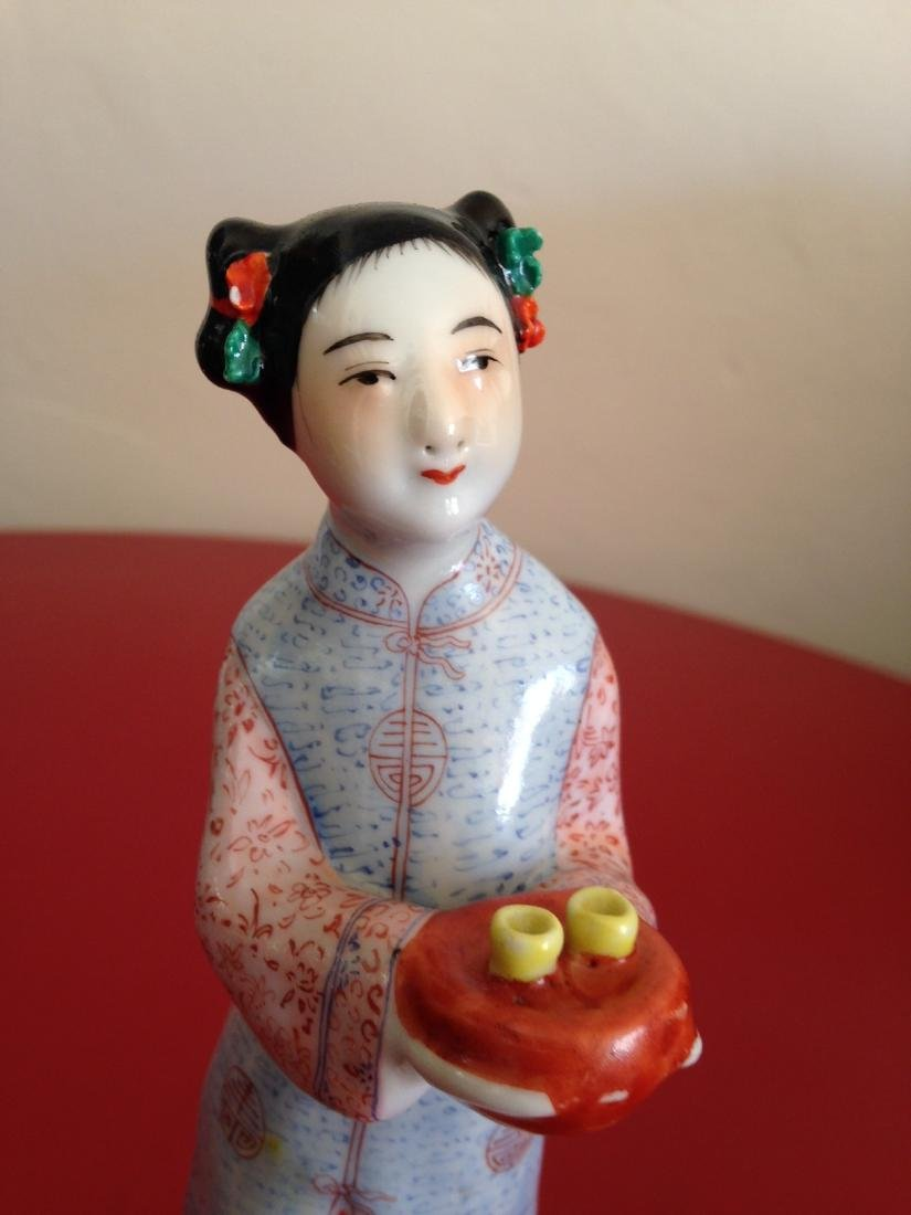 Chinese Porcelain Statue Woman Offering Tea - 2