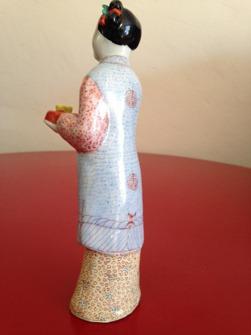 Chinese Porcelain Statue Woman Offering Tea - 6