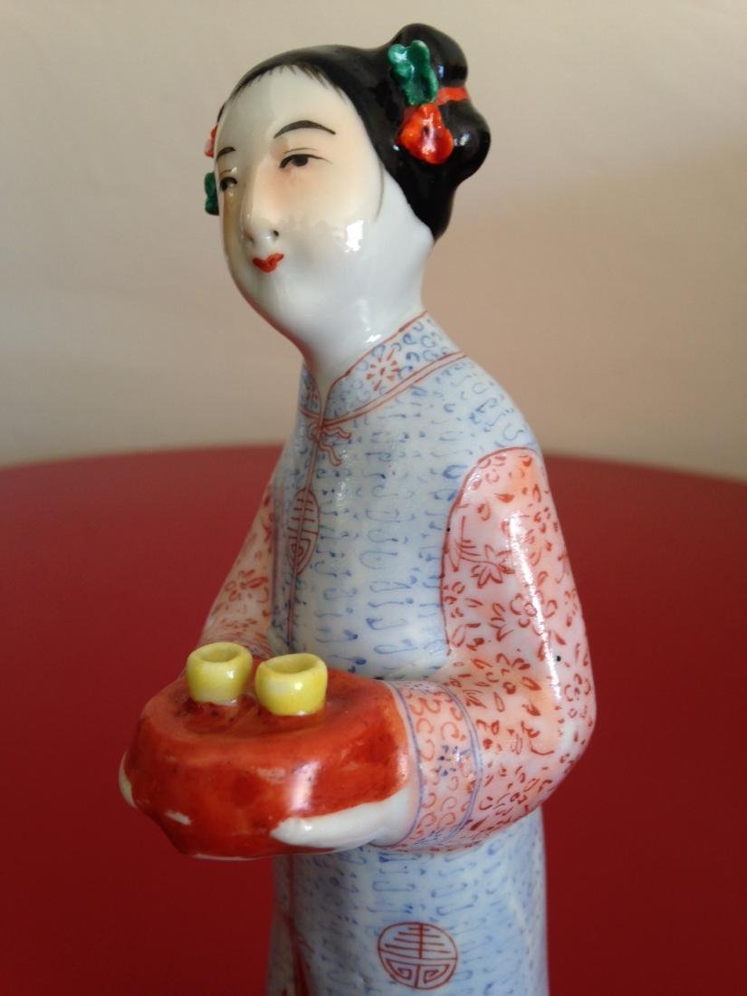 Chinese Porcelain Statue Woman Offering Tea - 8