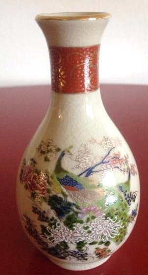 Miniature Satsuma Vase with Peacock Scene