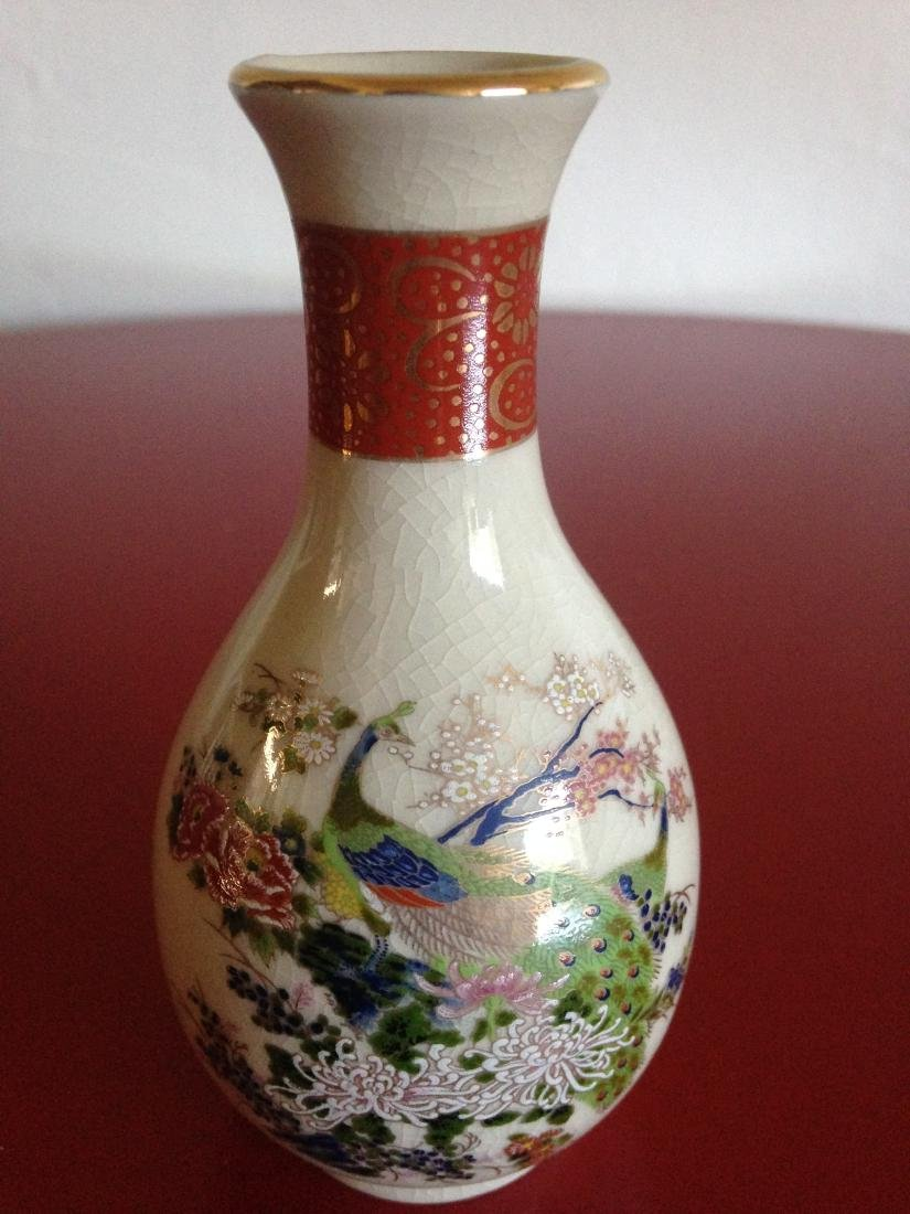 Miniature Satsuma Vase with Peacock Scene - 5