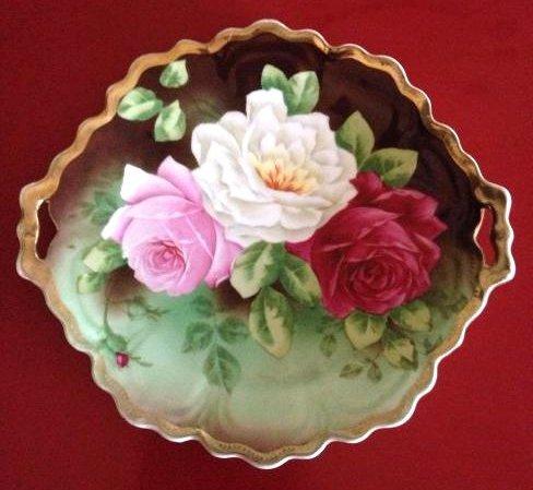 Royal Vienna German Bavaria Rose Handled Plate