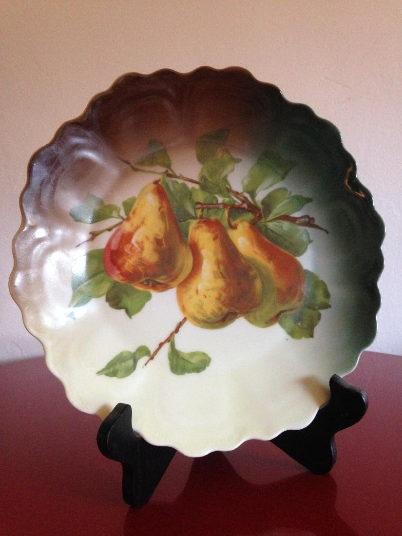 Antique Hand Painted Scalloped Pear Platter - 2