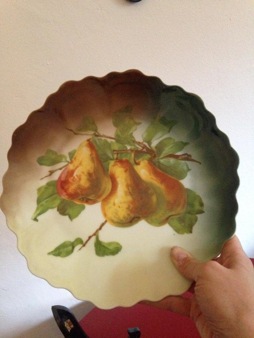 Antique Hand Painted Scalloped Pear Platter - 3