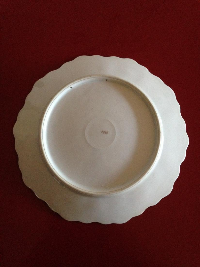 Antique Hand Painted Scalloped Pear Platter - 7