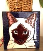 Hand-Glazed Siamese Cat Tile by Pumpkin