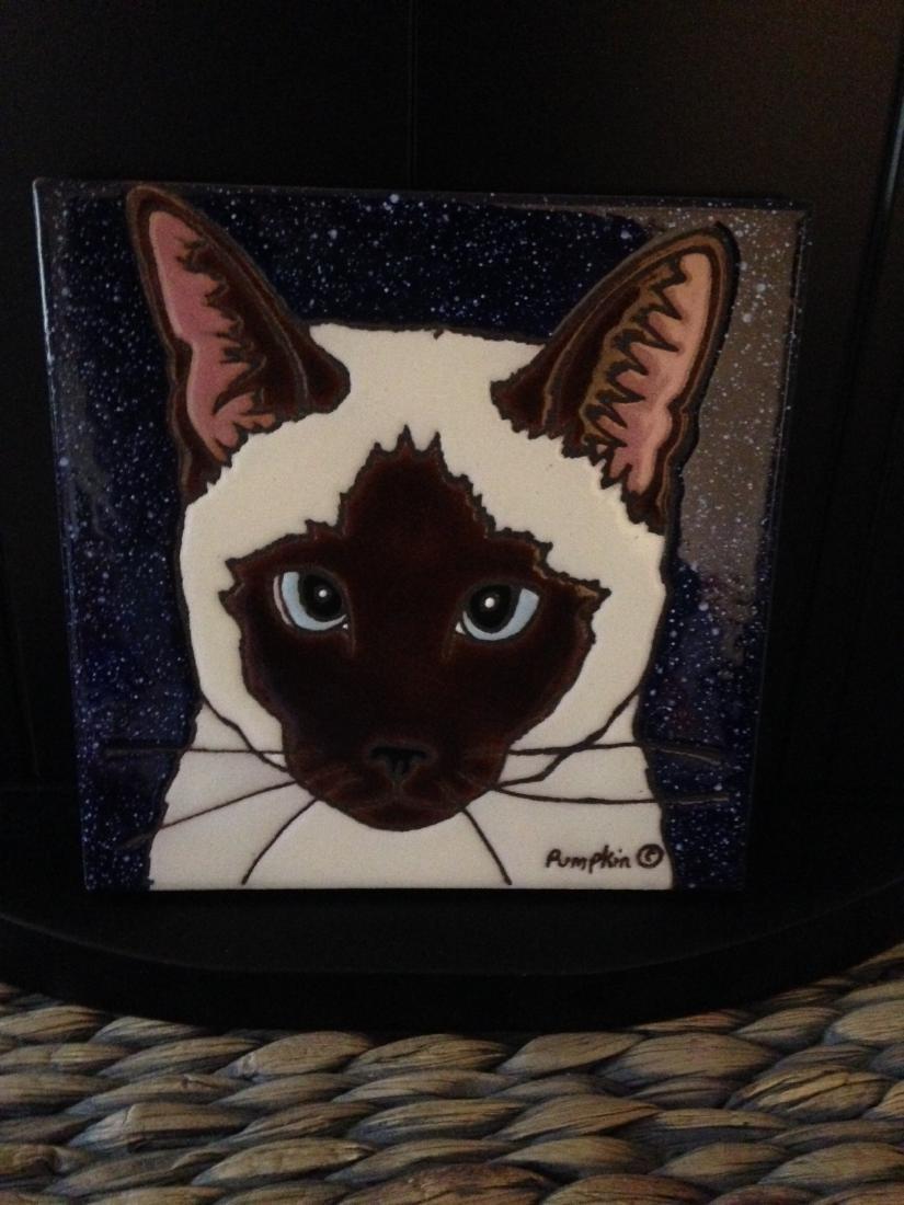 Hand-Glazed Siamese Cat Tile by Pumpkin - 2