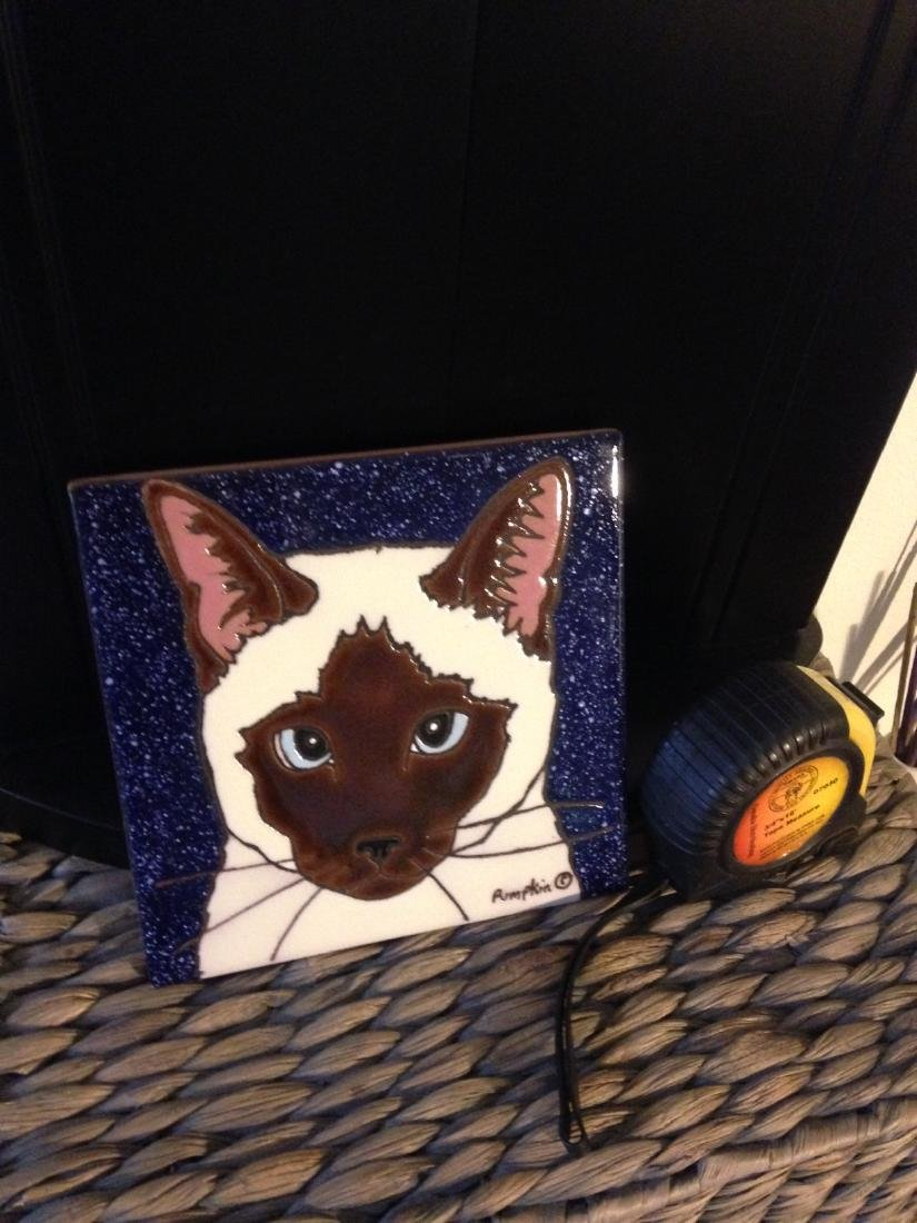 Hand-Glazed Siamese Cat Tile by Pumpkin - 7
