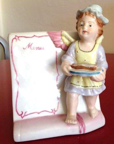 Meissen-Like Porcelain Figurine w/ Cherub Holding Fish
