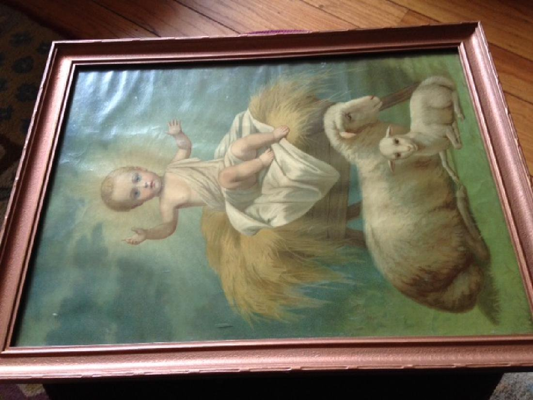 Antique 1920 Leiber Baby Jesus Print, Framed - 7