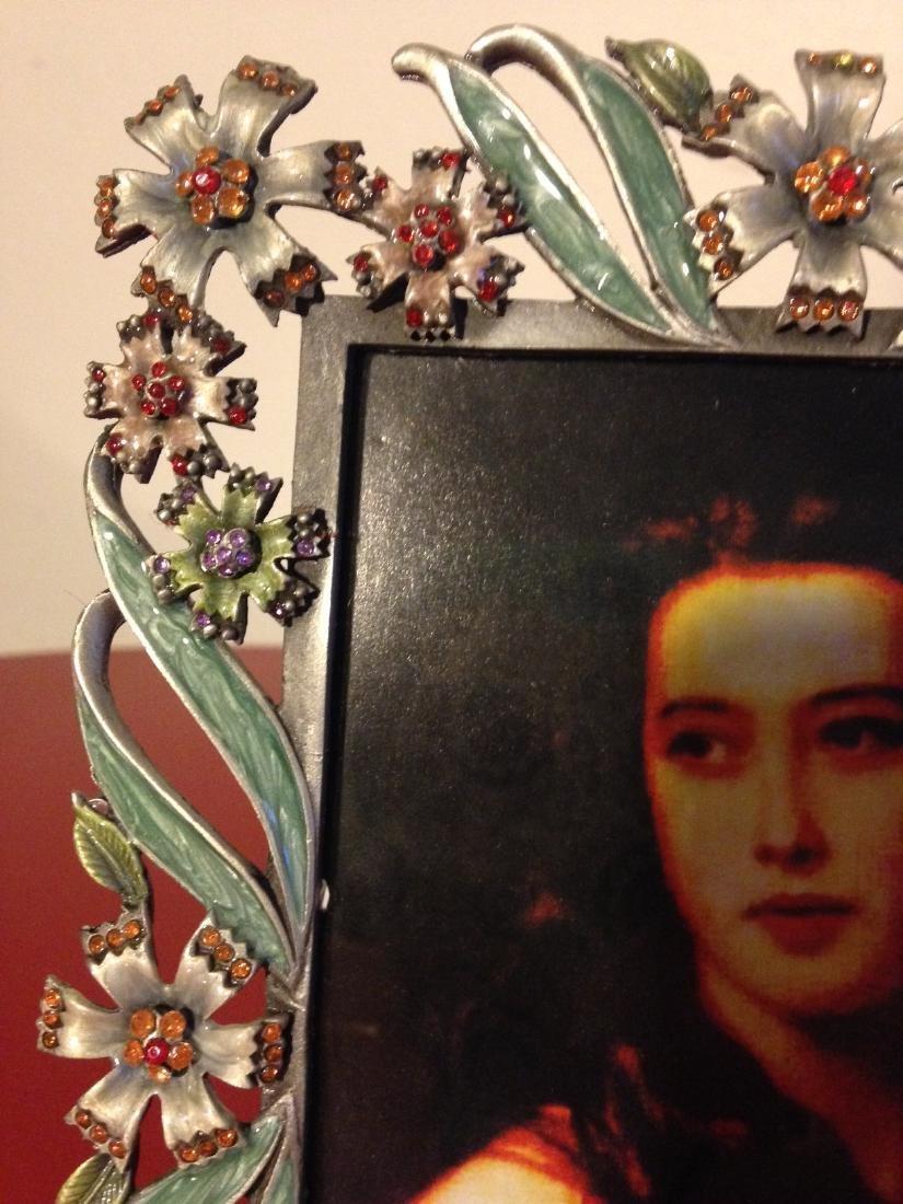 Enamel Rhinestone Table Top Frame w/ Flowers, Leaves - 2