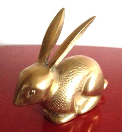 Vintage Brass Rabbit w/ Ears Up and Textured