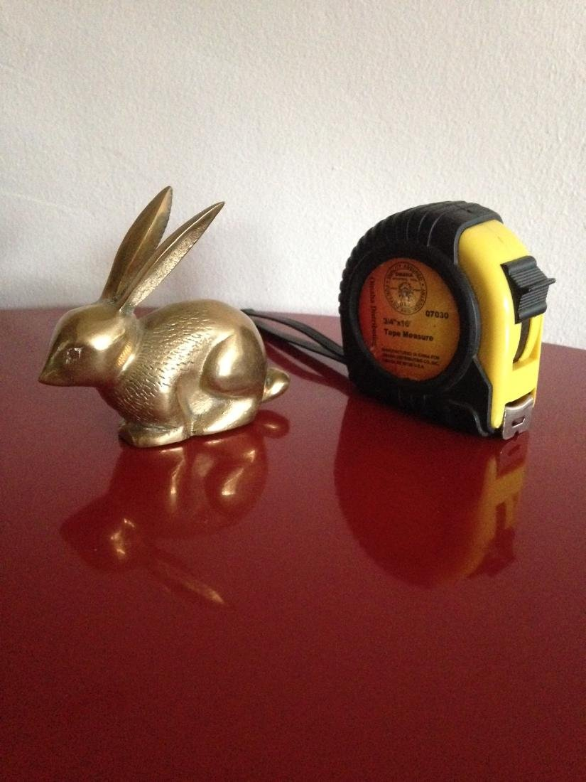 Vintage Brass Rabbit w/ Ears Up and Textured - 2