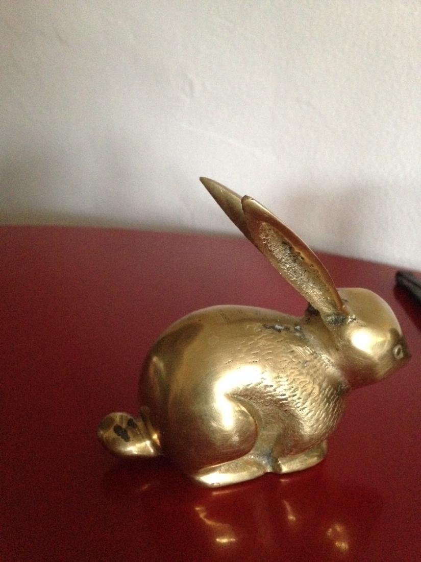 Vintage Brass Rabbit w/ Ears Up and Textured - 3