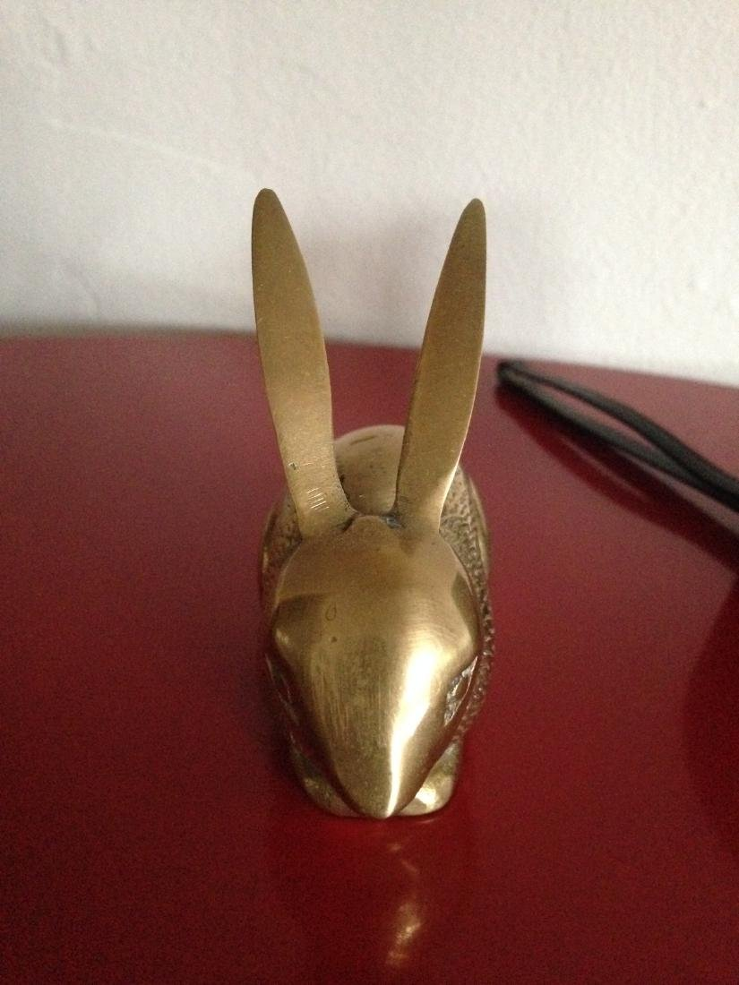 Vintage Brass Rabbit w/ Ears Up and Textured - 4