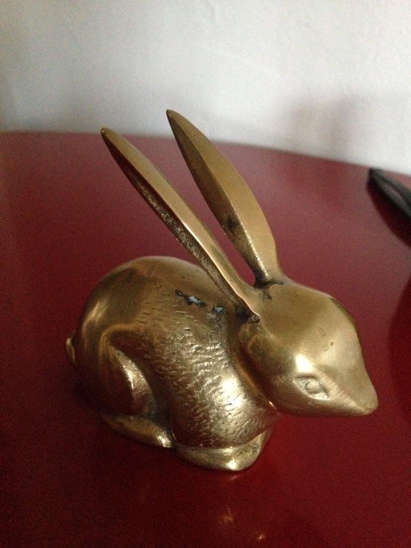 Vintage Brass Rabbit w/ Ears Up and Textured - 5