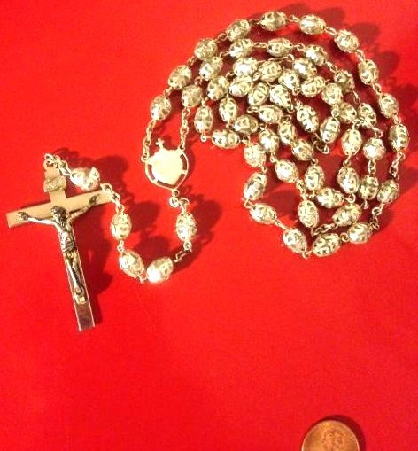 Antique Rosary Beads, Metal Caps, Comes w/ Storage Box