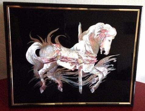 1980's Kafka Industries Carousel Horse Screened Etching