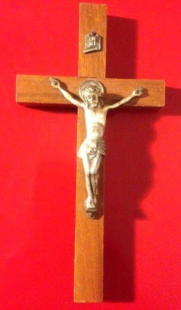 """Rare Antique Walnut Wood Crucifix 6""""H"""
