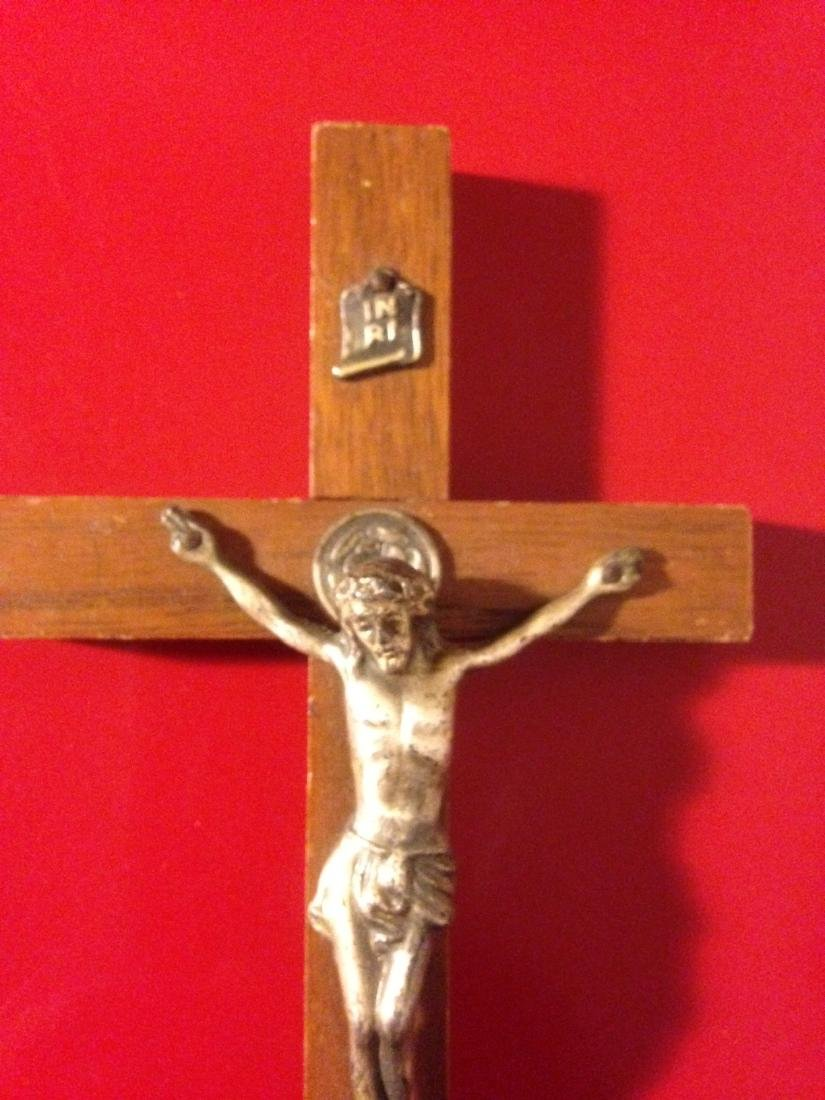 """Rare Antique Walnut Wood Crucifix 6""""H - 2"""