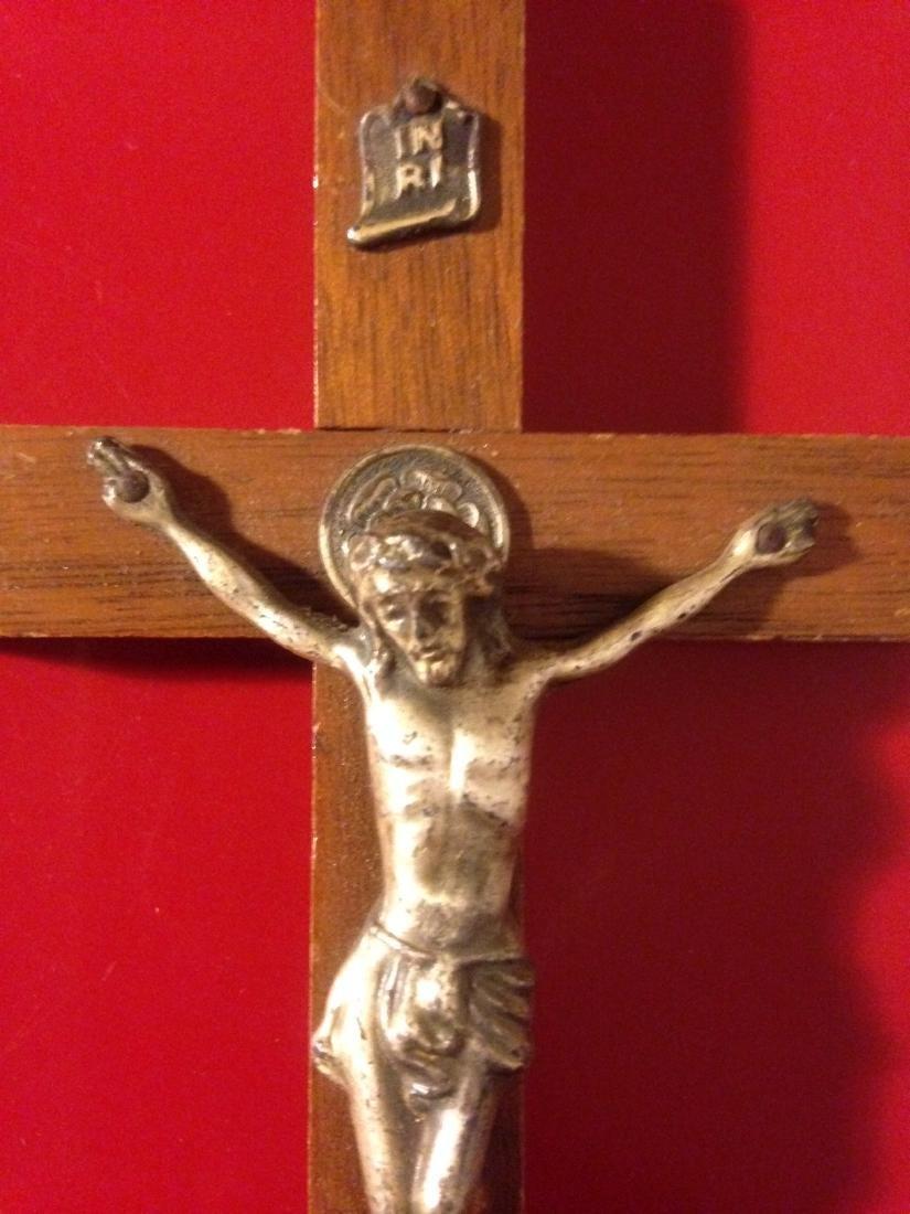 """Rare Antique Walnut Wood Crucifix 6""""H - 3"""