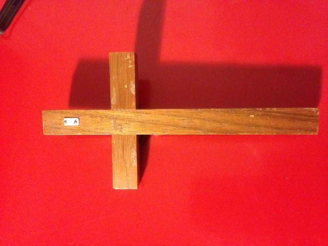 """Rare Antique Walnut Wood Crucifix 6""""H - 4"""