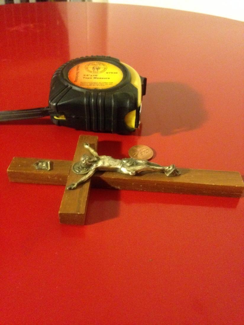 """Rare Antique Walnut Wood Crucifix 6""""H - 5"""