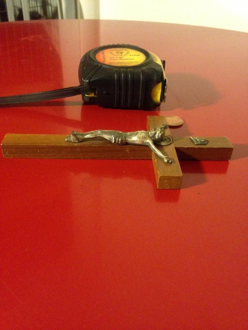 """Rare Antique Walnut Wood Crucifix 6""""H - 7"""