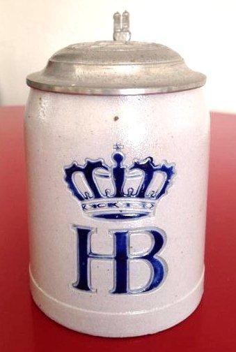 HB Hofbauhaus Stoneware Beer Stein w/ Pewter Lid