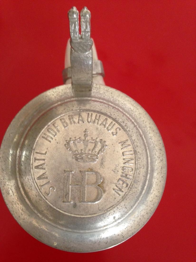 HB Hofbauhaus Stoneware Beer Stein w/ Pewter Lid - 6
