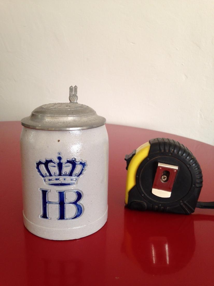 HB Hofbauhaus Stoneware Beer Stein w/ Pewter Lid - 8