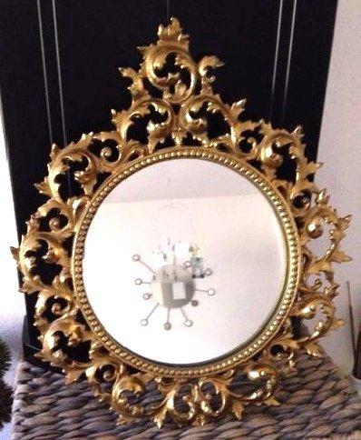 Beautiful Vintage Ornate Bronze Round Mirror