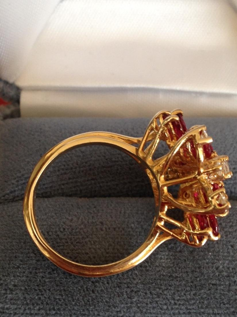 Estate Ring Ruby and Diamond Butterfly Size 8 - 10