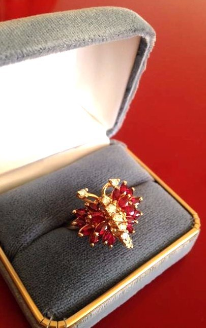 Estate Ring Ruby and Diamond Butterfly Size 8