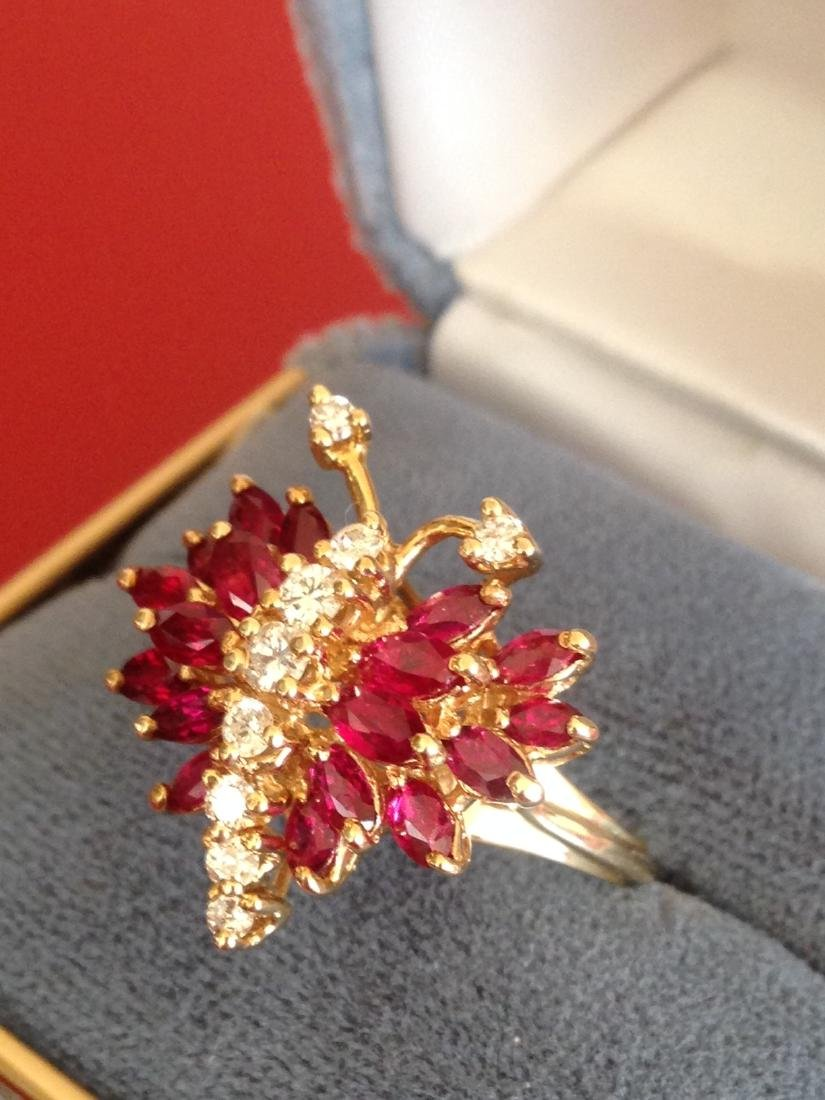 Estate Ring Ruby and Diamond Butterfly Size 8 - 2
