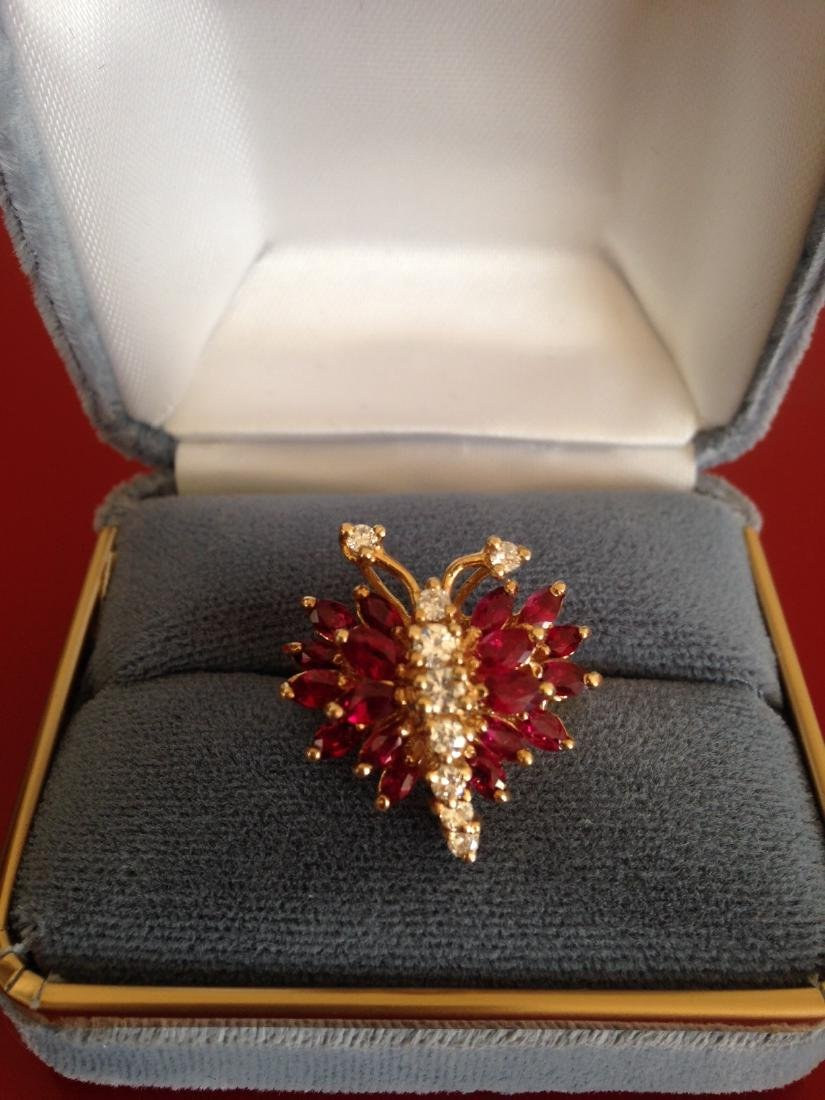Estate Ring Ruby and Diamond Butterfly Size 8 - 3