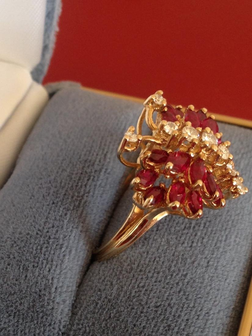 Estate Ring Ruby and Diamond Butterfly Size 8 - 4