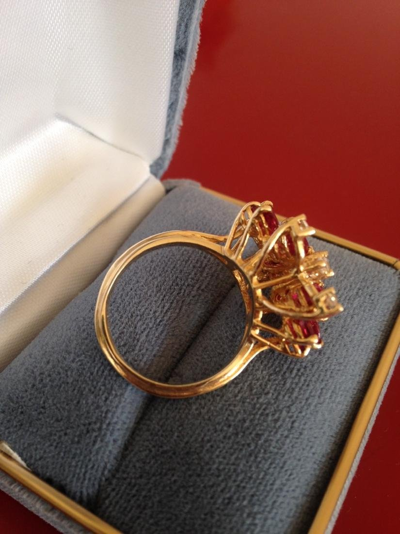 Estate Ring Ruby and Diamond Butterfly Size 8 - 5